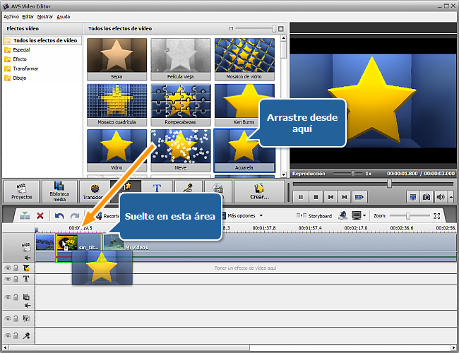 Arrastrar y soltar un efecto vídeo al vídeo principal