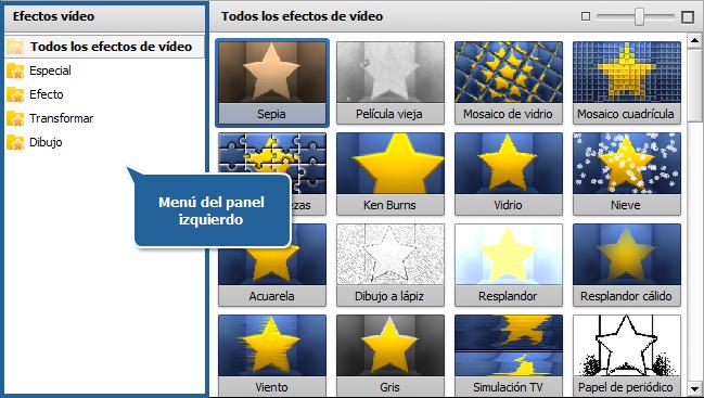 Área de archivos y efectos - Vista Efectos