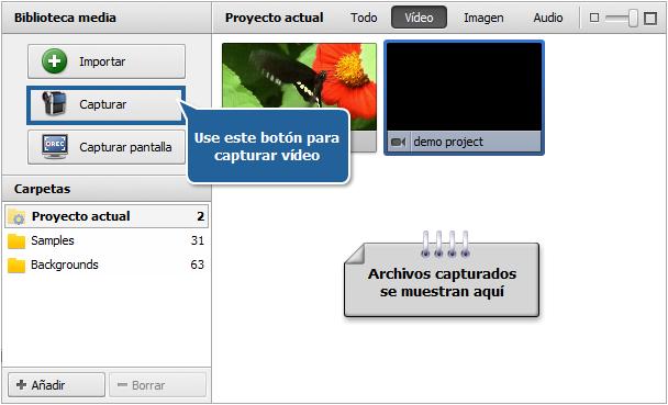 Área de archivos y efectos - Vista Archivos de vídeo