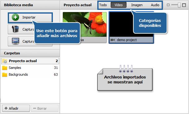 Área de archivos y efectos - Vista Biblioteca Media