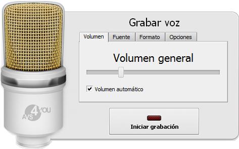 Panel de grabación de voz