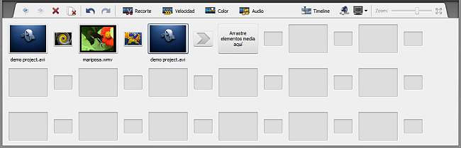 Área de Timeline/Storyboard - Modo Storyboard