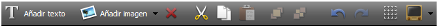Pantalla Barra de herramientas de texto