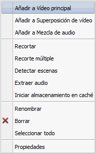 Menú express para archivos de vídeo