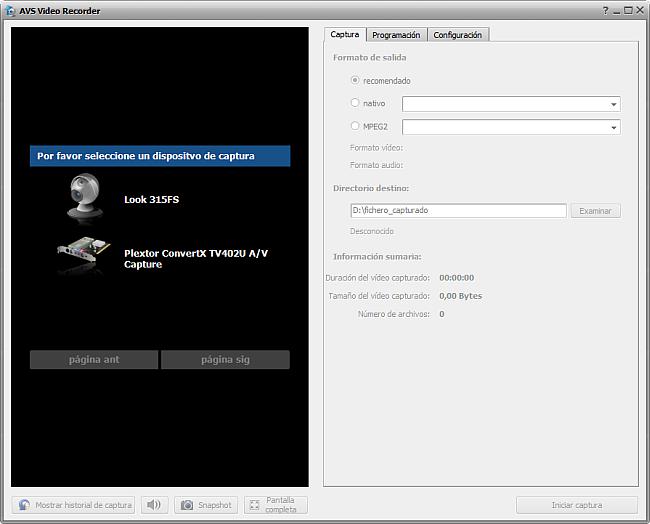 AVS Video Recorder. Ventana principal