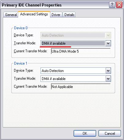 Activation du mode DMA