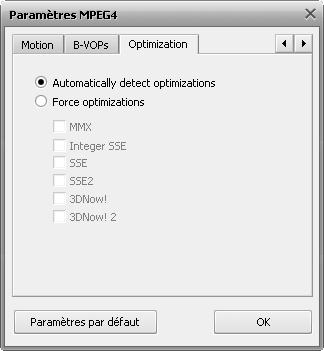 Fenêtre de paramètres MPEG-4