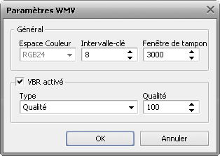 Paramètres avancés du codec WMV
