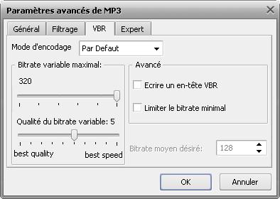 Paramètres avancés du format MP3
