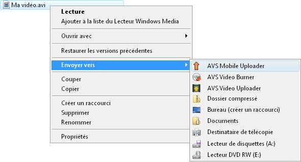 menu contextuel de Windows