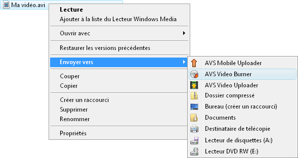 menu contextuel de Windows