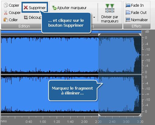 Traitement audio - Elimination des parties inutiles des pistes audio