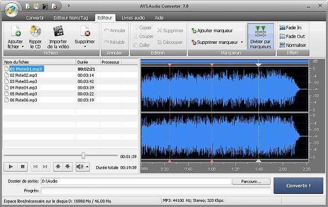 AVS Audio Converter - Division des fichiers audio