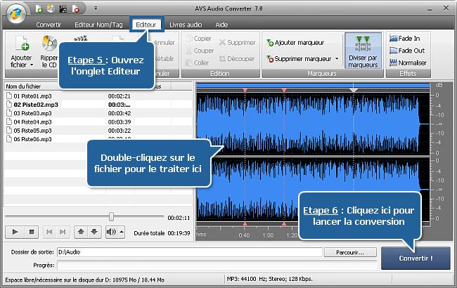 Fonctionnalités d'AVS Audio Converter - Etape 5, 6