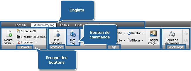 AVS Audio Converter - Onglet Editeur Nom/Tag