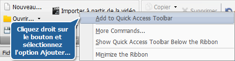 Ajout des boutons dans la barre d'outils d'accès rapide