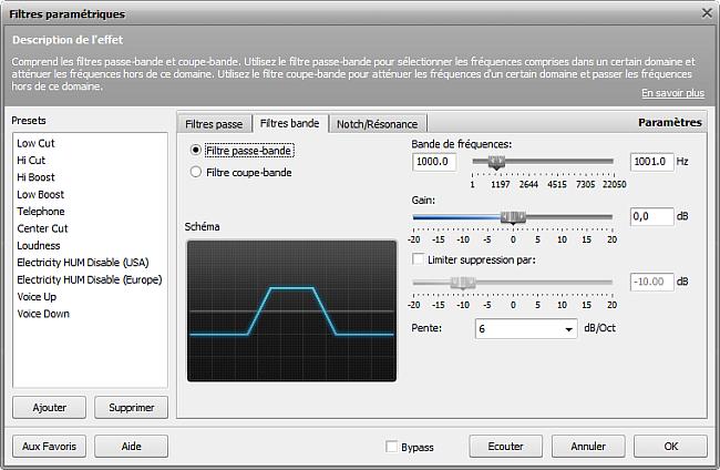 Paramètres du filtre Passe-bande