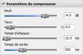 Paramètres du compresseur