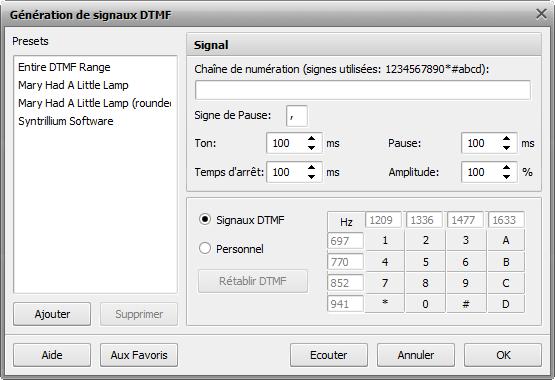 Génération de signaux DTMF
