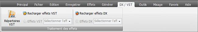 AVS Audio Editor - Onglet DX/VST