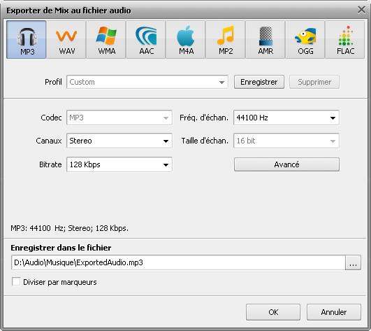 fenêtre Exporter de Mix au fichier audio
