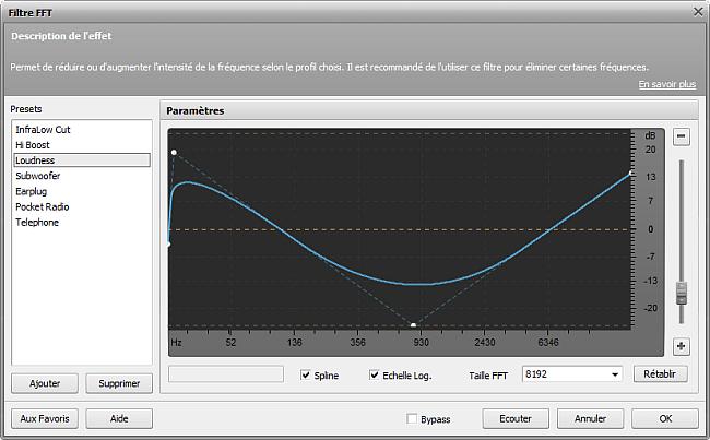 Paramètres du filtre FFT