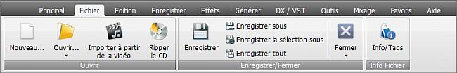 AVS Audio Editor - Onglet Fichier