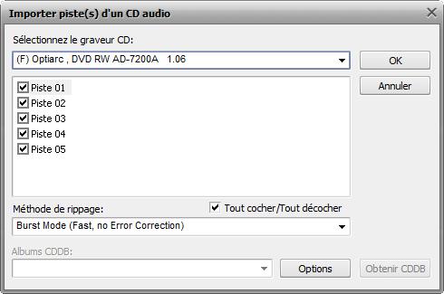 fenêtre Importer une piste audio