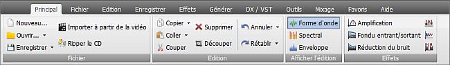 AVS Audio Editor - Onglet Principal
