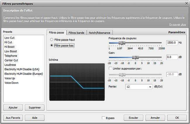 Paramètres du filtre Passe-bas