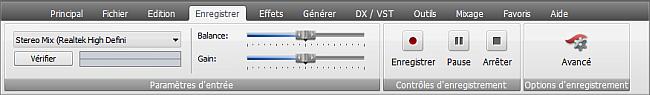 AVS Audio Editor - Onglet Enregistrer