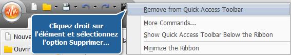 Suppression des boutons de la barre d'outils d'accès rapide