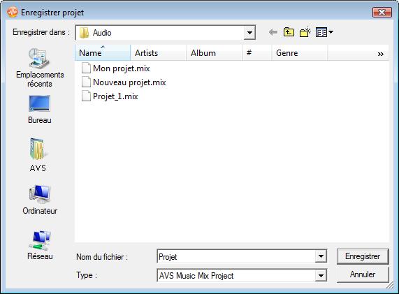 fenêtre Enregistrer projet