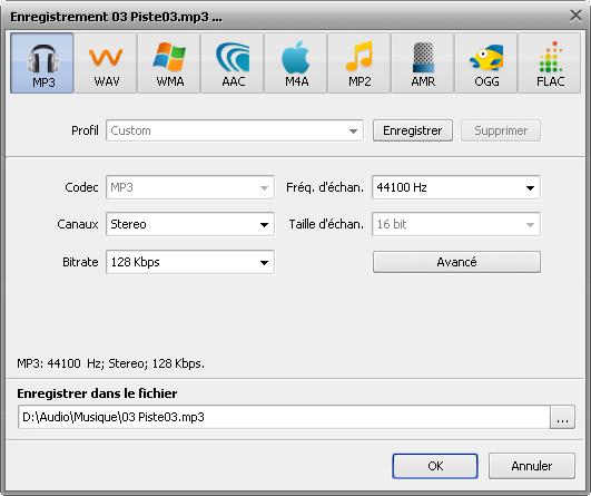 fenêtre Enregistrement du fichier