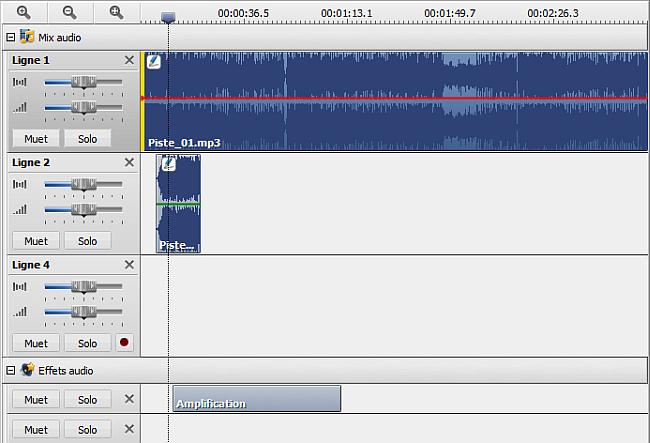Timeline pour le mixage