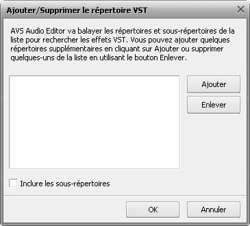 fenêtre Répertoires VST