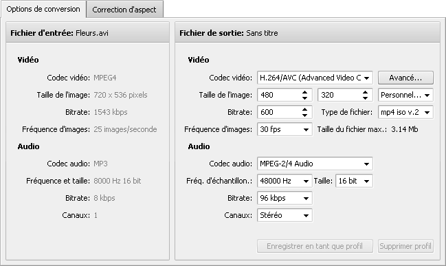 Onglet Options de conversion - Android