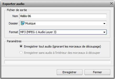 fenêtre Exporter audio