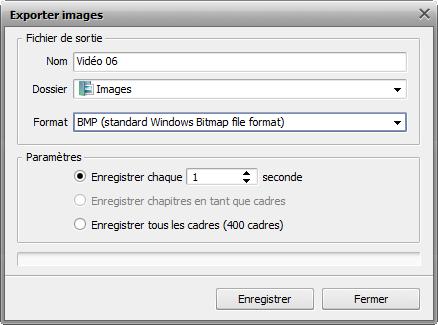 fenêtre Exporter images