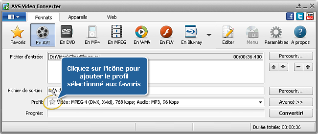 AVS Video Converter - fenêtre principale