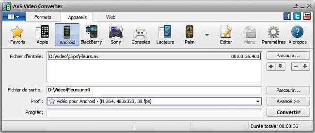 Fenêtre principale d'AVS Video Converter - pour Android