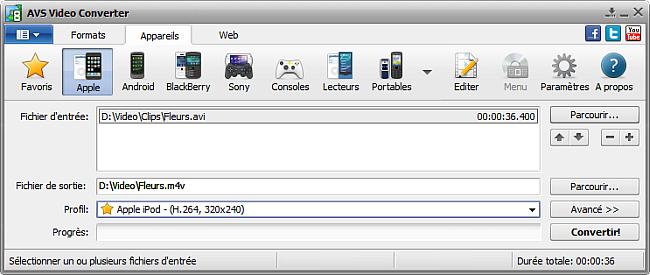 Fenêtre principale d'AVS Video Converter - pour Apple