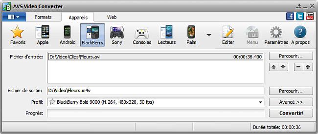 Fenêtre principale d'AVS Video Converter - pour BlackBerry