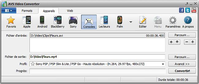 Fenêtre principale d'AVS Video Converter - pour consoles