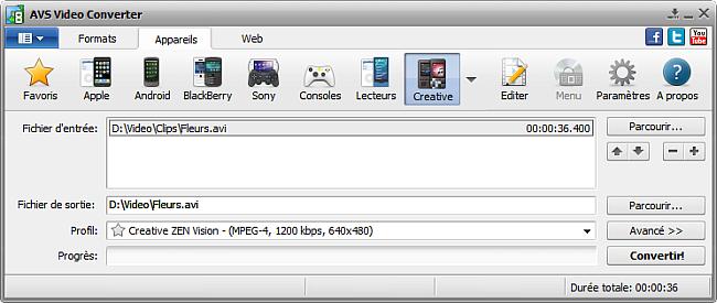 Fenêtre principale d'AVS Video Converter - pour Creative