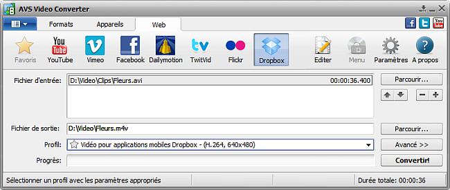 Fenêtre principale d'AVS Video Converter- Dropbox