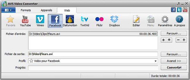 Fenêtre principale d'AVS Video Converter - Facebook