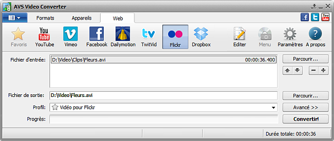 Fenêtre principale d'AVS Video Converter - Flickr