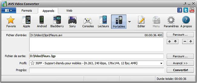 Fenêtre principale d'AVS Video Converter - pour portables