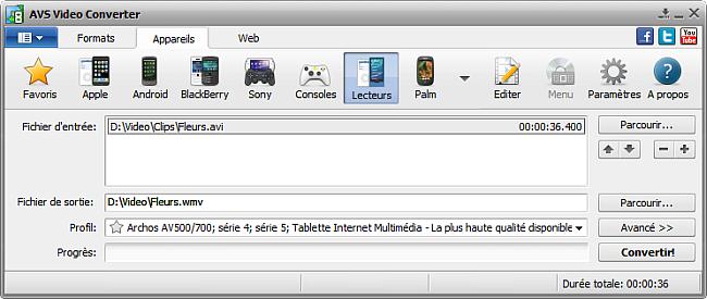 Fenêtre principale d'AVS Video Converter - pour lecteurs